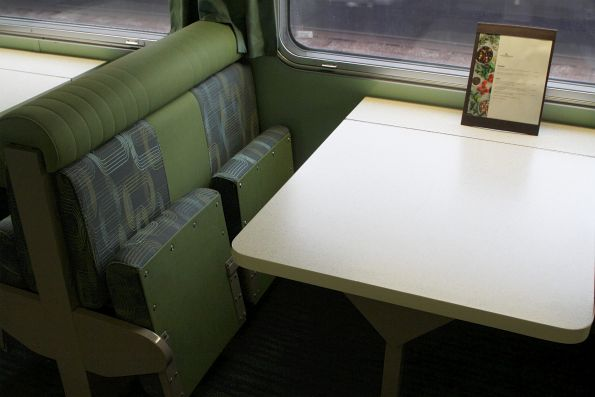 Tables at 'Matilda Cafe' onboard a CDF cafe carriage