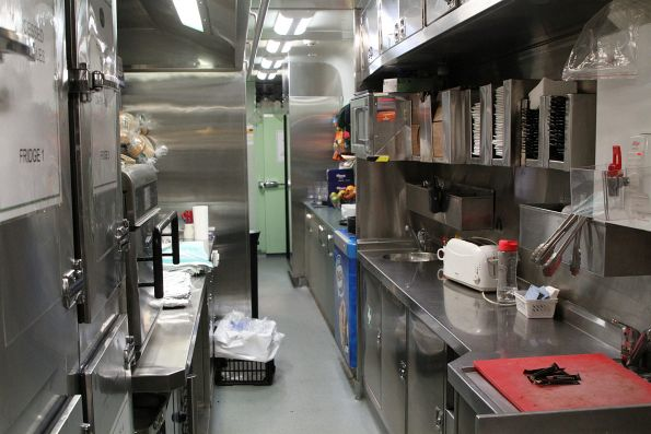 Kitchen area onboard a CDF cafe carriage