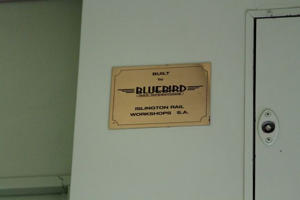 Bluebird Rail Operations builder's plate onboard a CDF cafe carriage
