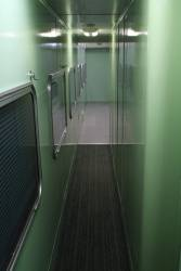 Corridor beside the kitchen onboard a CDF cafe carriage