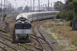 NR85 leads the train through West Footscray Junction