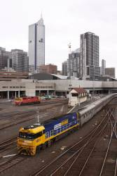 NR51 leads the train into Southern Cross