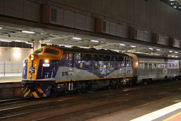 B76 at Southern Cross, about to take the carriage set for The Overland to South Dynon for overnight stabling