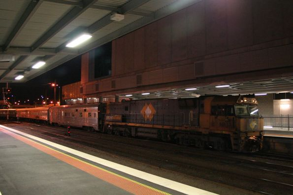 NR37 trails the Overland carriage set on the empty car move from Southern Cross to South Dynon