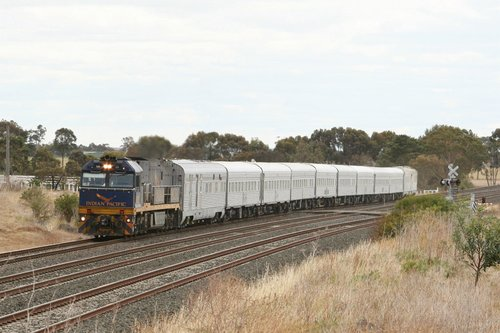 Indian Pacific liveried NR25 on the Adelaide bound Overland outside Little River