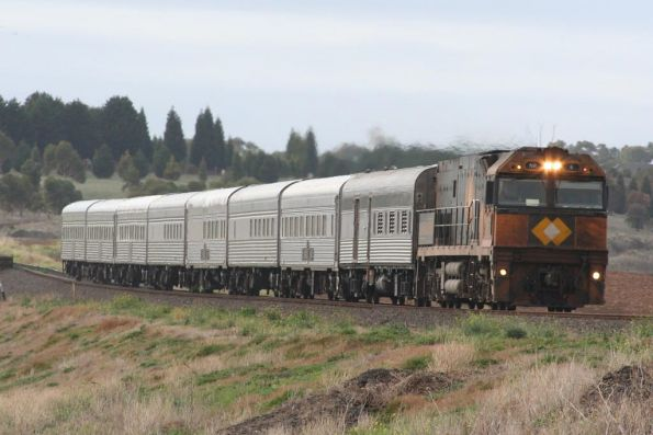 Last run of the unrefurbished Overland, westbound at Moorabool