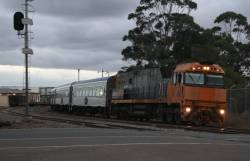 NR2 takes The Overland towards Melbourne, arriving at North Shore