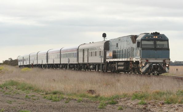 SteelLink liveried NR58 takes The Overland westbound at Gheringhap