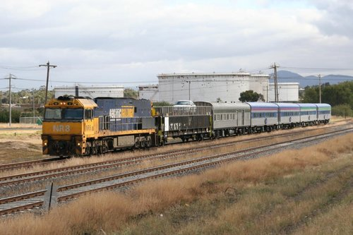 NR8 leads the Overland with the first westbound Motorail through North Shore