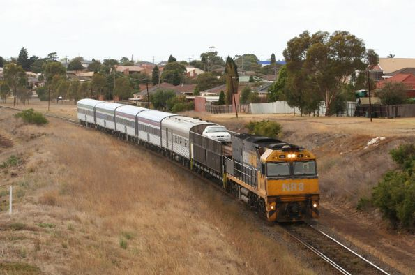 The Overland westbound at Bell Post Hill, with only 3 sitting cars in the consist