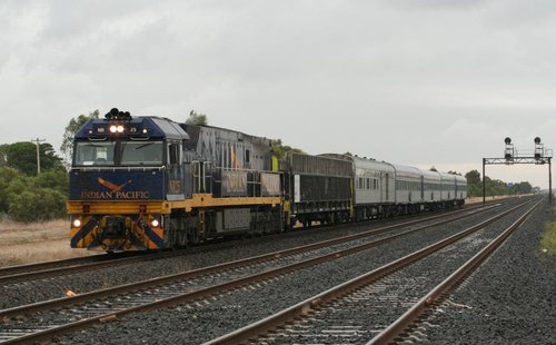 Indian Pacific liveried NR25 on the down Overland at Lara