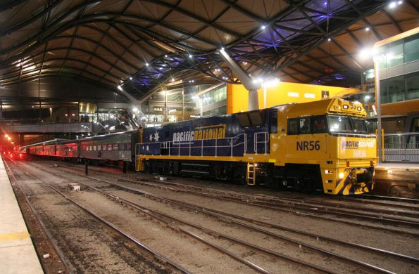 The Overland arrives at Southern Cross behind a freshly repainted NR56