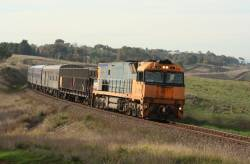 NR11 climbs upgrade towards Moorabool with the westbound Overland