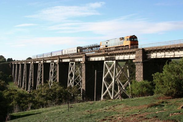 NR82 leads the westbound Overland across the Moorabool Viaduct