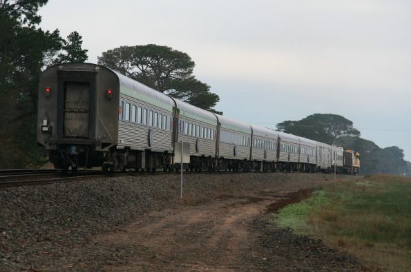 8 car consist plus motorail headed westbound at Inverleigh