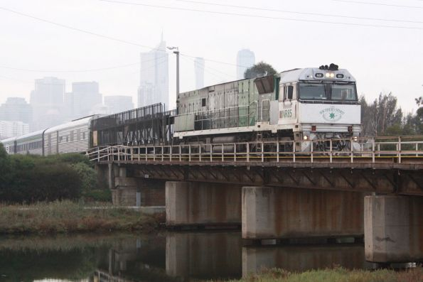 NR85 on the westbound Overland yet again, crossing Moonee Ponds Creek