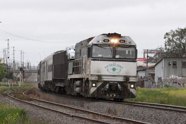 Southern Spirit liveried NR84 leads the westbound Overland through Brooklyn