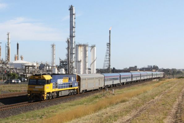 NR61 leads the westbound Overland through Corio