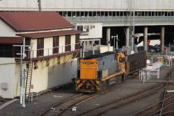 NR111 shunts the motorail wagon into the dock siding so the cars can be unloaded