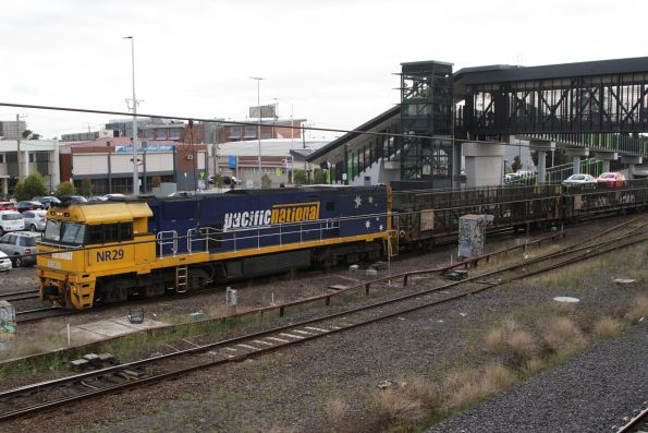 NR29 leads the westbound Overland through West Footscray