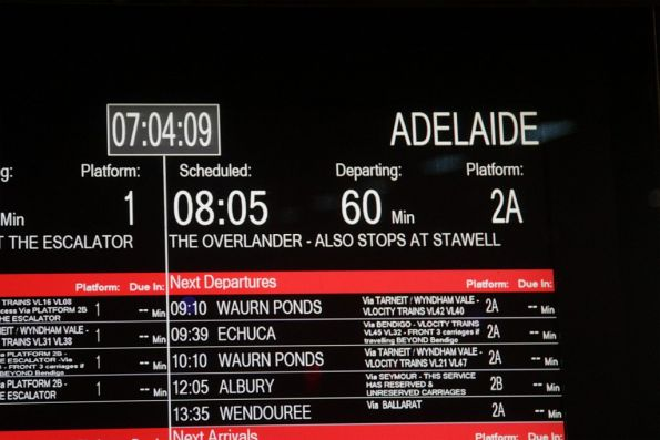 Incorrect 'The Overlander' name on the PIDS at Southern Cross