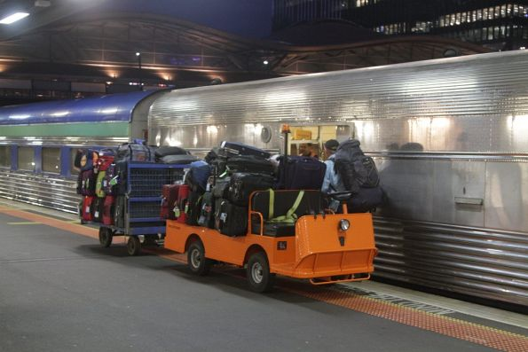 Cart and wagon fully loaded with baggage for The Overland