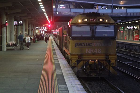 NR48 ready to depart Melbourne with the westbound Overland