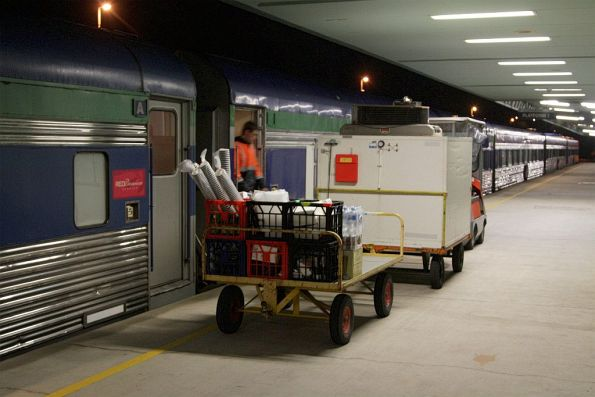 Loading the cafe car before departure from Adelaide Parklands Terminal