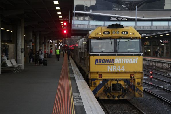 NR44 awaiting departure time from Southern Cross Station on the westbound Overland