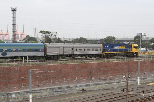 NR10 leads the westbound Overland over the North Melbourne flyover