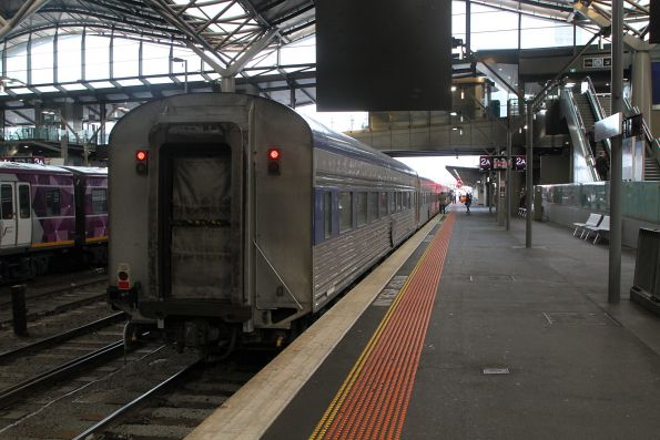 Tail end of The Overland awaiting departure time at Southern Cross Station