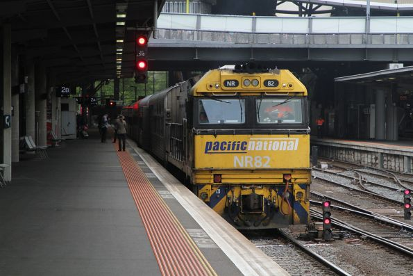 NR82 awaiting departure time from Southern Cross Station with The Overland