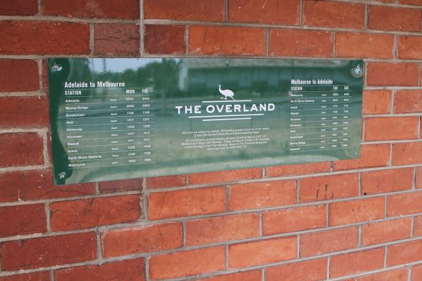 Timetable for The Overland at Ararat station