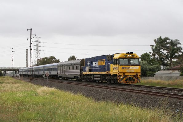 NR110 leads The Overland westbound through Spotswood