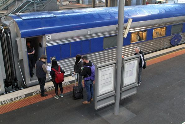 Passengers board The Overland at Southern Cross