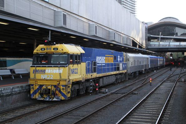 NR22 ready to lead The Overland westbound out of Southern Cross