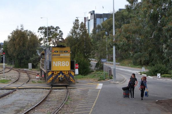 NR80 sets back onto the carriage set at Adelaide Parklands Terminal