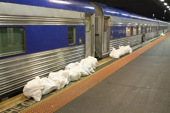 Rubbish bags waiting to be picked up on arrival in Melbourne