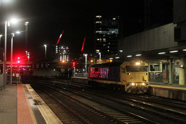 8171 shunts back onto The Overland at Southern Cross Station