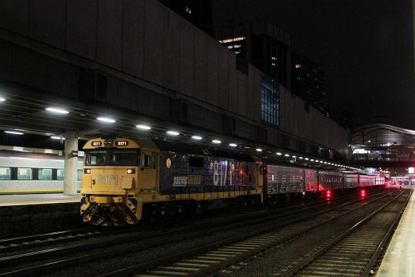 8171 ready to lead the Overland empty car move out of Southern Cross Station