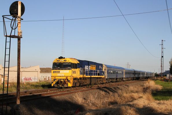 NR58 leads the Melbourne bound Overland through Brooklyn