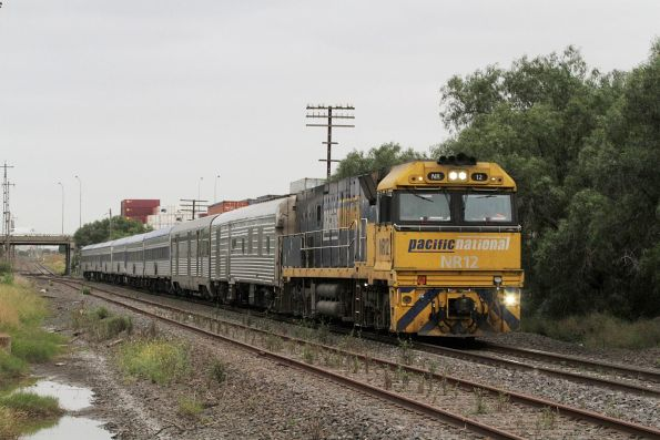 Possibly the last ever Overland - NR12 through Brooklyn leading the Adelaide-bound train out of Melbourne