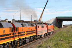 CLP17, GM42, 2210 and 2212 headed west out of Geelong under the future Geelong Ring Road bridge at Bell Post Hill
