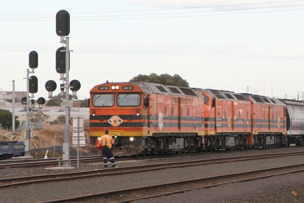 ALF20, CLP17 and ALF18 wait for a signal to head onto the ARTC main line at North Geelong C