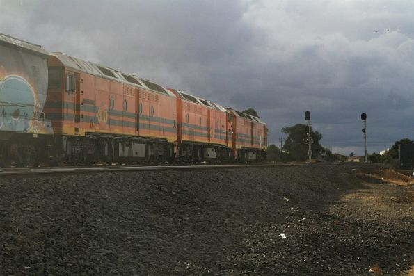 ALF20, CLP17 and ALF18 head onto the ARTC main line at North Geelong C