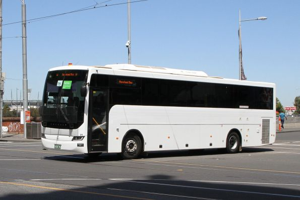 Moreland Bus coach #21 BS04PK departs Federation Square with a Westall rail replacement service