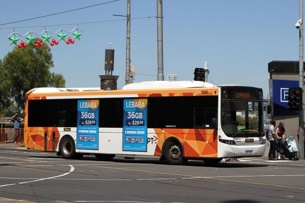 Ventura bus #1066 6615AO arrives at Federation Square with a Westall rail replacement service