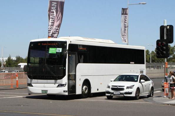 Moreland Bus coach #22 BS04PL departs Federation Square with a Westall rail replacement service