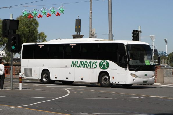 Murrays coach BS01XM arrives at Federation Square with a Westall rail replacement service