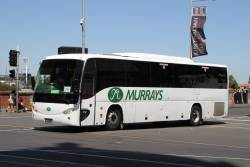 Murrays coach BS01XM departs Federation Square with a Westall rail replacement service